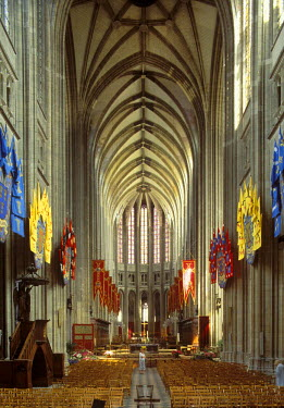 IBLMAN01525348 Interior view of the Cathedral of Ste-Croix, Orleans, Loire Valley, Loiret, Centre, France
