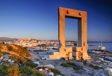 IBLGZS00897890 Gateway to antiquity, giant door or Portara of the Temple of Apollo at the town of Naxos, Cyclades Island Group, Greece