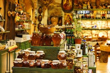 IBLMSI00159023 Honey in souvenir shop, Matala, Southern Crete, Greece