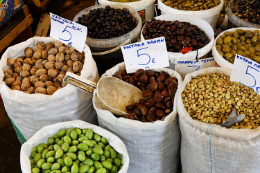 IBLMSI00159079 Nuts and olives at market in Heraklion (Iraklion), Crete, Greece