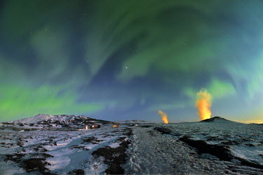 IBLHAN03573262 Aurora and geothermal power plant on Krafla Mountain, Northeastern Region, Iceland