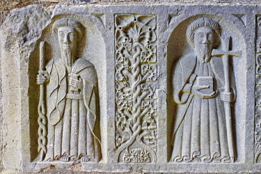 IBLCGH00163552 Stone reliefs on a tomb in the cistercian Jerpoint Abbey, Thomastown, Kilkenny, Ireland
