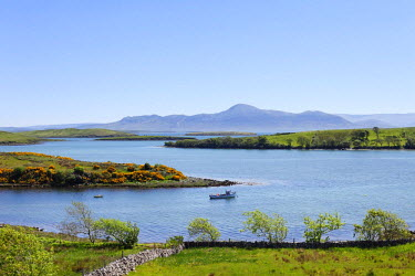 IBLMAN01646759 View from Rosturk over Clew Bay, looking towards Croagh Patrick mountain, County Mayo, Connacht province, Republic of Ireland