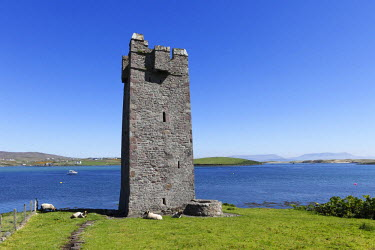 IBLMAN01646764 Carrickahowley Castle, Granuaile's Tower, Cloghmore, Achill Island, County Mayo, Connacht province, Republic of Ireland