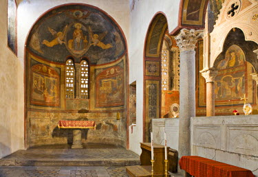 IBLHAN00599655 Apse in the left-side aisle of Santa Maria in Cosmedin Church, Rome, Italy