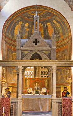 IBLHAN00599656 Ciborium and Schola cantorum (papal choir) in the nave of Santa Maria in Cosmedin Church, Rome, Italy