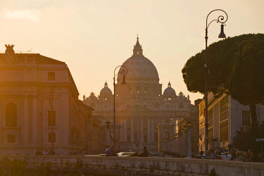 IBLHAN00599825 St. Peter's Basilica seen from Ponte Sant �Ģ Angelo bridge at sunset, Rome, Italy