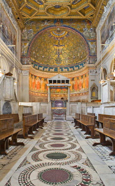 IBLHAN00600571 Nave with coffered ceiling and ciborium in San Clemente Church, Rome, Italy