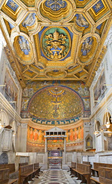 IBLHAN00600572 Nave with coffered ceiling and ciborium in San Clemente Church, Rome, Italy