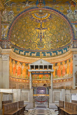 IBLHAN00600573 Apse decorated with mosaics dating to the twelfth century in San Clemente Church, Rome, Italy