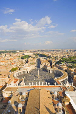 IBLHAN00600606 View of the city and St. Peter's Square as seen from the dome of St. Peter �Ģs Basilica, Rome, Italy
