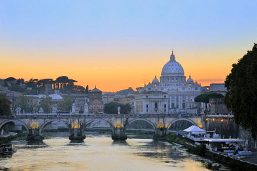 IBLHAN01485024 St. Peter's Basilica in the evening light, Rome, Lazio, Italy