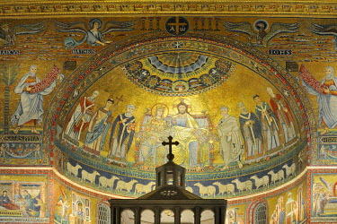 IBLHAN01490744 Apse mosaic in Santa Maria, Trastevere, Rome, Italy
