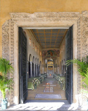 IBLHAN01491242 Interior with wedding decoration from San Giorgio in Velabro, Rome, Italy