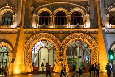 IBLBLO03715114 Entrance, Rossio railway station, Art Nouveau facade, Baixa, Lisbon, Lisbon District, Portugal