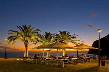 IBLHAN01091110 Terrace of a restaurant with palm trees at sunset, Camara de Lobos, Madeira, Portugal