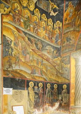IBLHAN01844513 Frescoes on the walls in the entrance area, Cozia Monastery, Oltenia region, Lesser Wallachia, Romania