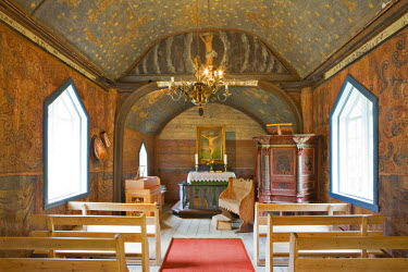 IBLHAN00640939 Interior of the stave church (12th century) in Undredal at Aurlandsfjord, Norway, Scandinavia