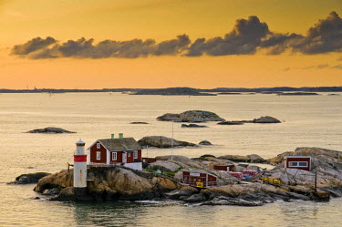 Archipelago island with lighthouse near Gothenburg, Sweden, Scandinavia