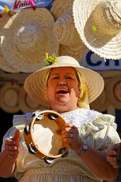 IBLMSI00390051 Folklore singer with tambourine, San Bartolome de Tirajana, Tunte, Gran Canaria, Spain