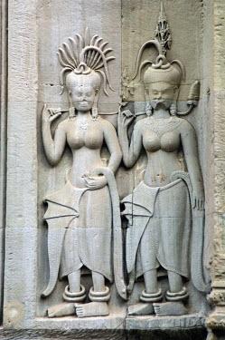 IBLGAB01090274 Apsaras, Angkor Wat, UNESCO World Heritage Site, Siem Reap, Cambodia