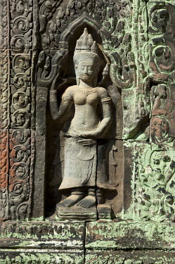 IBLGVA02429626 Bas-relief of a female deity, Devata, as temple guard, Preah Khan Temple, built by King Jayavarman VII in the 12th century, Angkor, Siem Reap, Cambodia, Southeast Asia