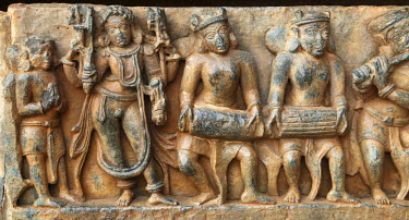 IBLMAN01485720 Reliefs on the outer wall of the Hoysaleswara Temple, Hoysala style, Halebidu, Karnataka, South India, India, South Asia