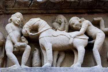 IBLOMK01877858 Erotic relief, Khajuraho Group of Monuments, UNESCO World Heritage Site, Madhya Pradesh, India