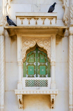 IBLGAB01061672 Green window, Jaswant Thada cenotaph, white marble memorial of Jaswant Singh II, Jodhpur, Rajasthan, India