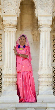 IBLGAB01061678 Indian woman in the Jaswant Thada cenotaph, Jodhpur, Rajasthan, India