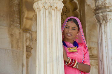 IBLGAB01061679 Indian woman in the Jaswant Thada cenotaph, Jodhpur, Rajasthan, India