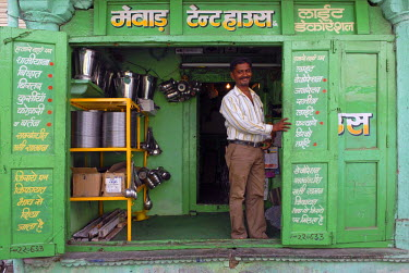 IBLOMK01909972 Owner of a shop for household goods, Dungarpur, Rajasthan, India