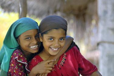 IBLOMK02060438 Muslim girls, Bangaram Island, Lakshadweep or Laccadive Islands, Arabian Sea, South India, India