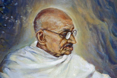 IBLOMK02373816 Portrait of the old Mahatma Gandhi, painting, Aga Khan Palace, Pune or Poona, Maharashtra, India