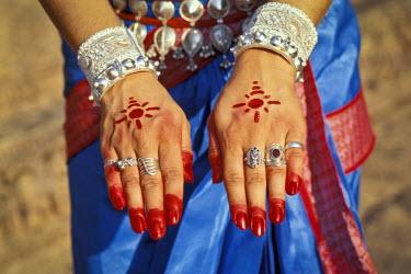 IBLOMK02284052 Painted hands of an Odissi dancer, Konarak or Konark, Orissa, East India, India