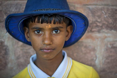 IBLOMK03602908 Boy wearing a hat, portrait, Mehrangarh Fort, Jodhpur, Rajasthan, India