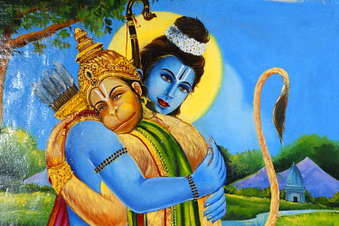 IBLMAN01479676 Painting of Hanuman with the god Rama, Srivilliputhur Andal temple, Srivilliputtur, Tamil Nadu, Tamilnadu, South India, India