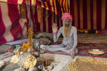 IBLFBD03152316 Shiva sadhu, holy man, sitting in his tent at the Sangam, the confluence of the rivers Ganges, Yamuna and Saraswati, during Kumbha Mela festival, Allahabad, Uttar Pradesh, India