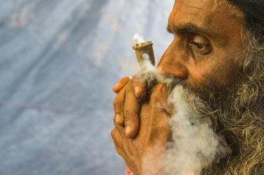 IBLFBD03152373 Udaisin Sadhu, holy man, smoking marihuana at the Sangam, the confluence of the rivers Ganges, Yamuna and Saraswati, during Kumbha Mela festival, Allahabad, Uttar Pradesh, India