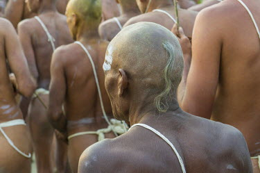 IBLFBD03152752 Initiation of new sadhus, during Kumbha Mela festival, Allahabad, Uttar Pradesh, India