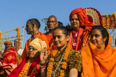 IBLFBD03152860 Group of sadhus, holy men, and sadhvis, holy women, participating in the procession of Shahi Snan, the royal bath, during Kumbha Mela festival, Allahabad, Uttar Pradesh, India