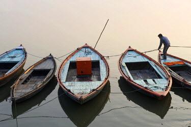IBLOMK01918568 Boats, Ganges river, Varanasi, Uttar Pradesh, India