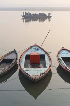 IBLOMK02295055 Boats on the Ganges, Varanasi, Benares or Kashi, Uttar Pradesh, India