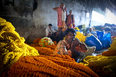 IBLOMK02294909 Flower market under Howrah Bridge, Kolkata or Calcutta, West Bengal, East India, India