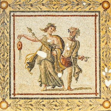 IBLGAB03053623 Mosaic of Bacchic dancers, 2nd cent. A.C., Hatay Archaeology Museum, Antakya, Hatay Province, Turkey