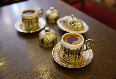 IBLMAN02420832 Mocha, Turkish coffee in traditional golden cups, Old City Sultanahmet, Istanbul, Turkey