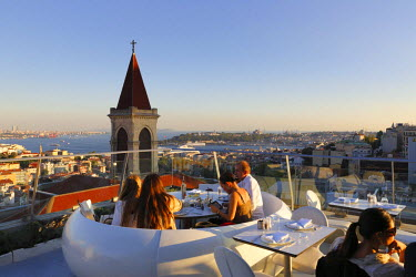 IBLMAN03034743 View from the 360-restaurant, church tower of the Basilica of St. Anthony, Bosphorus, Sultanahmet district and the Golden Horn at the rear right, Beyoglu, Istanbul, Istanbul Province, Turkey
