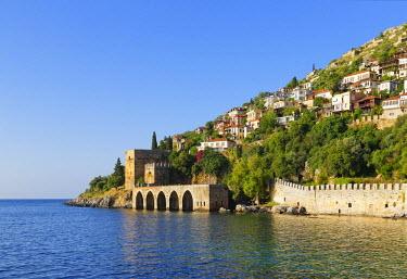 IBLMAN03513254 Ancient Seljuk shipyard, Tershane, Tophane, Alanya, Turkish Riviera, Province of Antalya, Mediterranean Region, Turkey