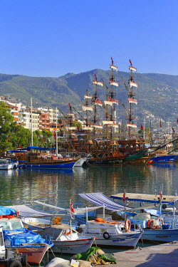 IBLMAN03513379 Fishing boats and excursion boats in the harbour, Alanya, Turkish Riviera, Province of Antalya, Mediterranean Region, Turkey