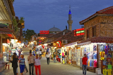 IBLMAN03773352 Old street with shops and the Selimiye Mosque, Side, Pamphylia, Antalya Province, Turkey
